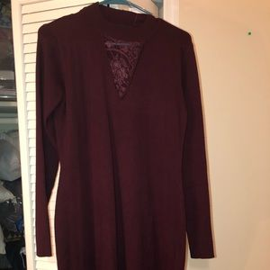 Long sleeve burgundy sweater dress. New with tags